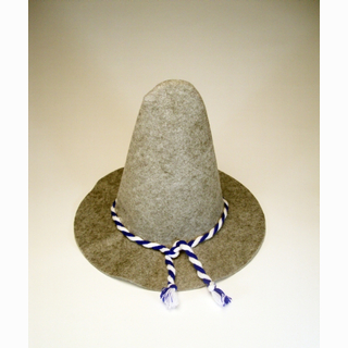 Wurzelsepp hat, grey with blue-white string, 42 x 30 cm