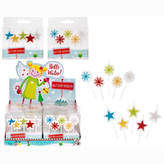 Glitzerkerzen 5er Set  HELLO WINTER in Schachtel ca 10x8x2cm