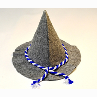 Wurzelsepp hat, grey with blue-white string