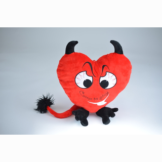 Plush heart, as devil, with embroidery 36 cm