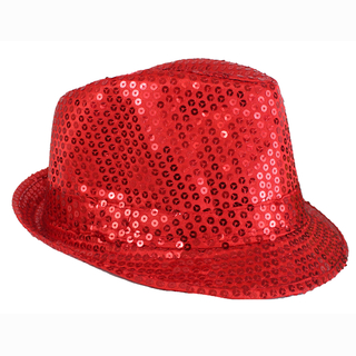 Gangster hat, glittering, red, Ø 20 cm