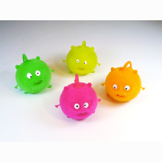 Flashing ball, smiling face, 6 assorted, 12 pieces in display, 9 cm