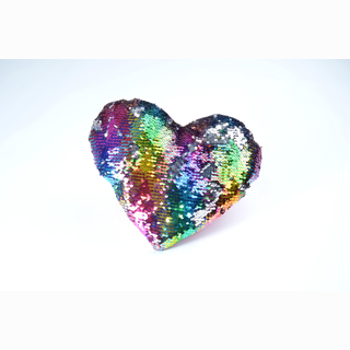 Plush heart, with sequins, mulitcolored/silver, 30 cm