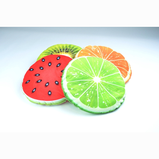 Plush Pillow, round shape, fruits printed, 4 assorted, 34 cm