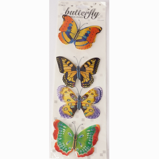 Deco sticker, 4 butterfly with 10 cm wingspread, on card, 40 x 12 cm
