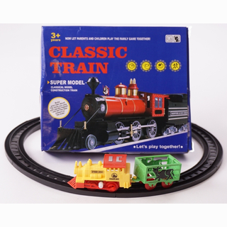 Railway, with train, trailer and 6 rails, in box, 17,5 x 15,5 cm