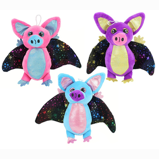 Plush bat-pig, glitter applications and eyes, black wings with glitter stars, 3 assorted, 21 cm