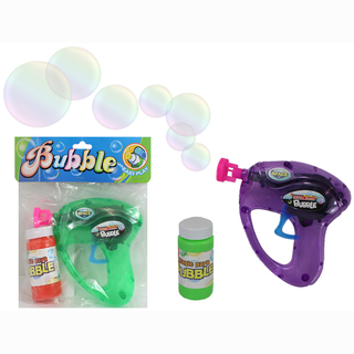 Bubble pistol, including fluid, 2 assorted, in bag, 14 x 12 cm