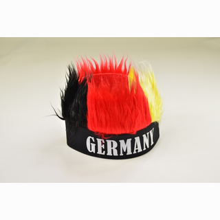 Cap with hair, German flag colors: Black, Red, Gold, and Germany print, in bag, 26 x 15 cm