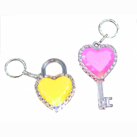 Heart Bag and Key, keyring, LED changing colour, 2...