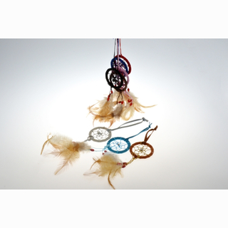 Dream catcher, 6 assorted, 12 pieces in bag, 18 cm (Ø 5 cm)