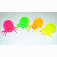 Flashing spider, 4 assorted, 12 pieces in display, 9 cm