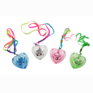 Flashing heart with string, 4 assorted, 48 pieces in display, 4 cm