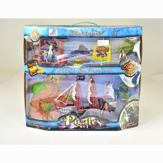 Pirate set with big and small boat and accessories, in box, 42 x 37 cm