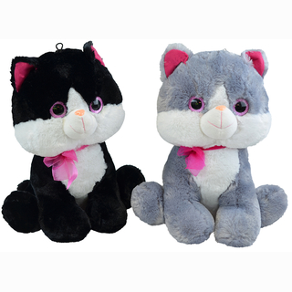 Plush cat, sitting with glitter eyes, grey/white and black/white, 2 assorted, 43 cm