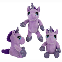 Unicorn with dangling legs purple approx 26cm